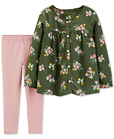 Baby Girls 2-Pc. Floral-Print Top & Leggings Set