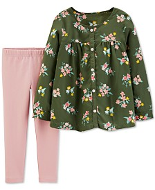 Carter's Baby Girls 2-Pc. Floral-Print Top & Leggings Set