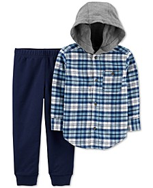 Baby Boys 2-Pc. Cotton Hooded Flannel Shirt & Jogger Pants Set