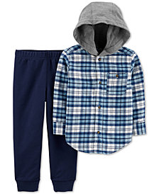 Carter's Baby Boys 2-Pc. Cotton Hooded Flannel Shirt & Jogger Pants Set