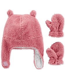 Carter's Baby Girls 3-Pc. Fleece Hat & Mittens Set