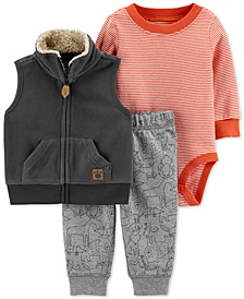Baby Boys 3-Pc. Fleece Vest, Striped Bodysuit & Printed Pants Set