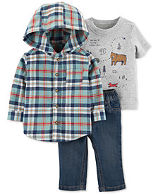 Carter's Baby Boys 3-Pc. Plaid Flannel Hooded Top, Graphic-Print T-Shirt & Denim Pants Set