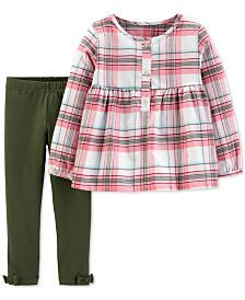 Carter's Baby Girls 2-Pc. Plaid Tunic & Bow Leggings Set