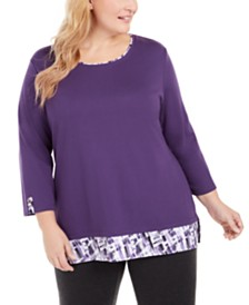 Karen Scott Plus Size Plaid-Trim Top, Created for Macy's