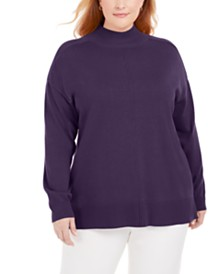 Karen Scott Plus Size Cotton Mock-Neck Sweater, Created for Macy's