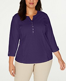 Plus Size Cotton Eyelet Henley Top, Created for Macy's
