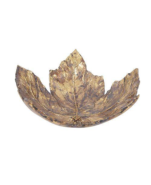 Howard Elliott Antique Gold Maple Leaf Tray- Large