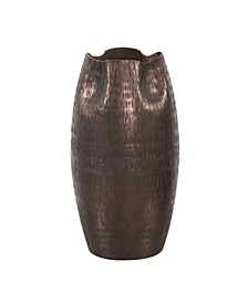 Textured Deep Copper Aluminum Pinched Top Vase, Small