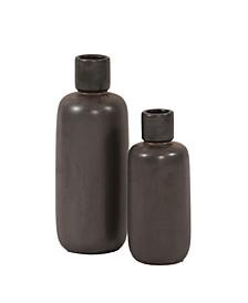 Graphite Ceramic Bottle Vase Set