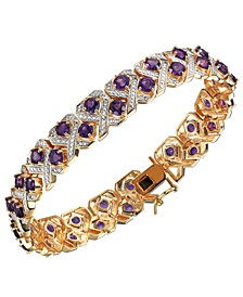 Amethyst (6 7/8 ct. t.w.) and Diamond Accent Bracelet in 18K Gold Over Sterling Silver