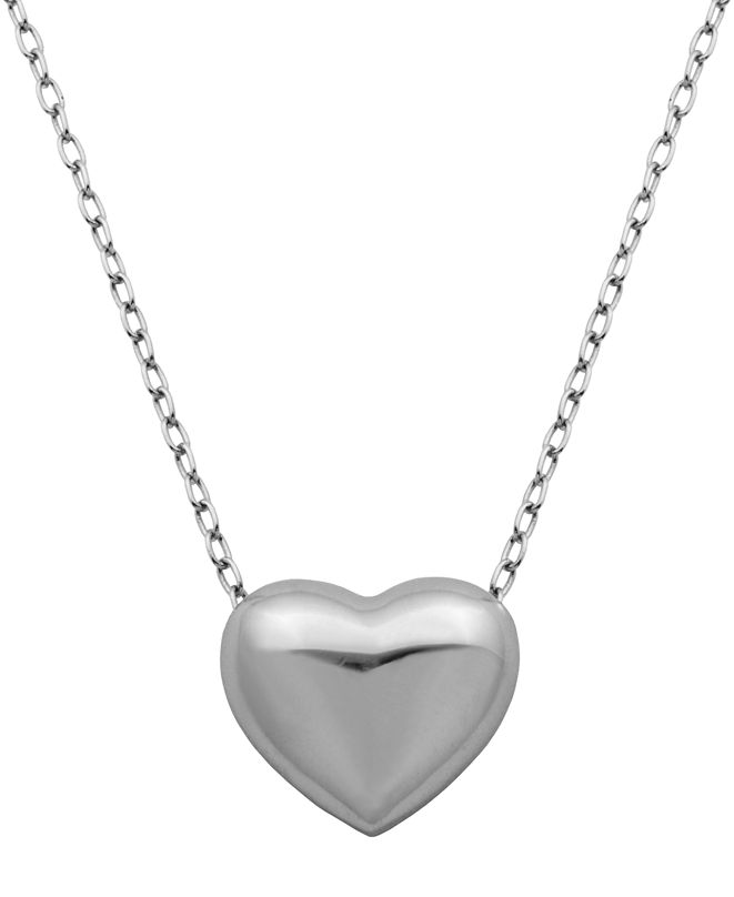 Macy's Prime Art & Jewel Simple Sterling Silver Heart Necklace