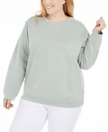 Karen Scott Plus Size Crewneck Fleece Sweatshirt, Created for Macy's