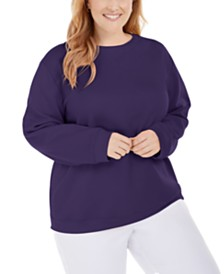 Karen Scott Plus Size Crewneck Fleece Sweatshirt, Created for Macy's