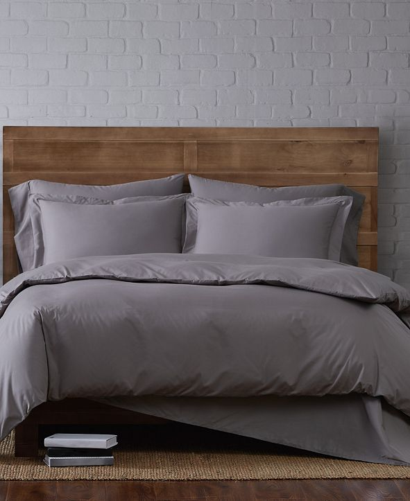 Brooklyn Loom Solid Cotton Percale King 3-Pc. Duvet Set
