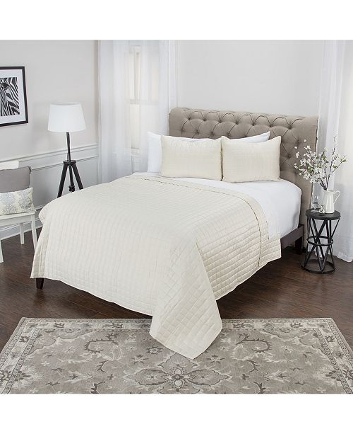 Rizzy Home Riztex USA Satinology Queen 3 Piece Quilt Set