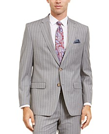 Men's Classic-Fit UltraFlex Stretch Light Gray Stripe Suit Separate Jacket