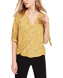 Juniors' Tie-Sleeve Surplice Top