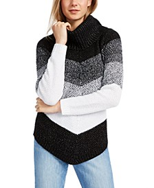 Juniors' Chevron-Stripe Turtleneck Sweater