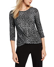 Juniors' Floral-Print Twist-Front Top