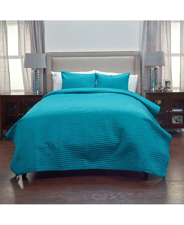 Rizzy Home Riztex USA Parker Teal Queen 3 Piece Quilt Set