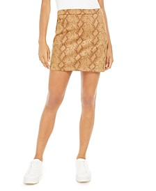 Faux Suede Snake Print Skirt