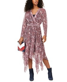 Tommy Hilfiger Faux-Wrap Smocked Peasant Dress, Created for Macy's