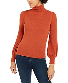 Mock-Neck Balloon-Sleeve Sweater