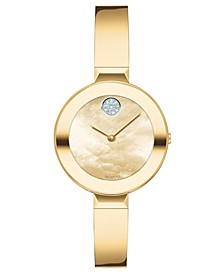Women's Swiss Bold Gold Ion-Plated Stainless Steel Bangle Bracelet Watch 28mm