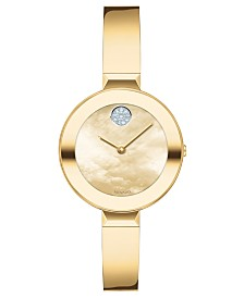 Movado Women's Swiss Bold Gold Ion-Plated Stainless Steel Bangle Bracelet Watch 28mm