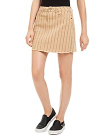 Juniors' Striped Raw-Hem Denim Mini Skirt