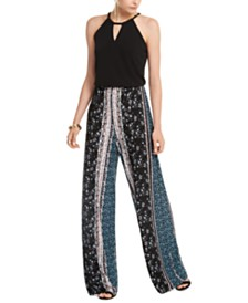 I.N.C. Solid & Printed Halter Jumpsuit, Created For Macy's