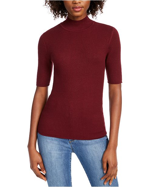 Maison Jules Ribbed Mock Neck Top, Created for Macy's