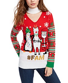 Juniors' Embellished Holiday Choker Sweater
