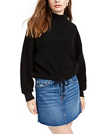 Juniors' Mock-Neck Sherpa Pullover
