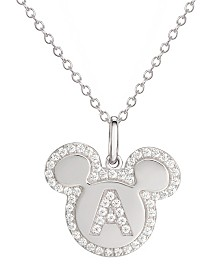 "Disney© Mickey Mouse Cubic Zirconia Initial Pendant 18"" Necklace in Sterling Silver"