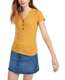 Hippie Rose Juniors' Ribbed Henley Top