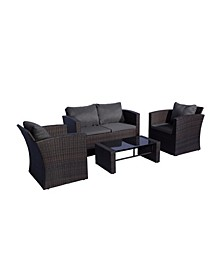 4-Piece Conversation Sofa Set with Plush Cushions