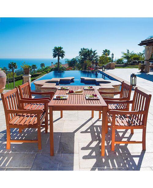 VIFAH Malibu Outdoor 5-Piece Wood Patio Dining Set