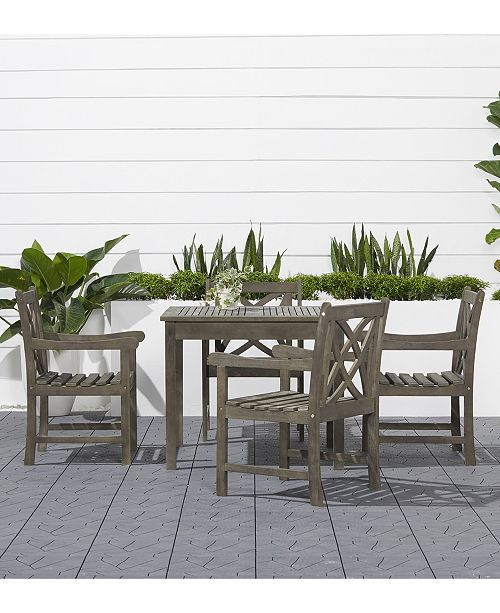 Admirable Vifah Renaissance Outdoor 5 Piece Wood Patio Stacking Table Gmtry Best Dining Table And Chair Ideas Images Gmtryco