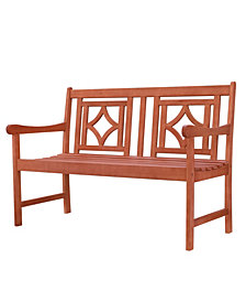 VIFAH Malibu Outdoor Patio Diamond Eucalyptus Hardwood Bench