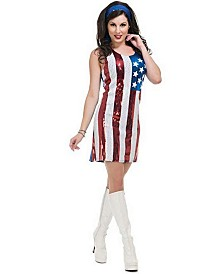 BuySeasons Women's American Flag Sequin Dress