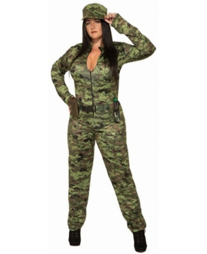 Women's Camo Jumpsuit And Hat Plus Size Adult Costume