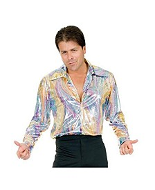 BuySeasons Men's Rainbow Snake Disco Shirt