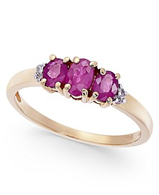 Certified Ruby (7/8 ct. t.w.) & Diamond Accent Three-Stone Ring in 14k Gold
