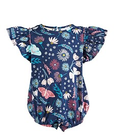 First Impressions Baby Girls Cotton Enchanted Flutter-Sleeve Bodysuit, Created For Macy's