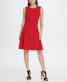 Sleeveless Crepe Fit  Flare Dress