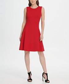 DKNY Sleeveless Crepe Fit  Flare Dress