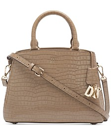 Paige Leather Croc-Embossed Satchel, Created for Macy's