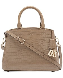 DKNY Paige Leather Croc-Embossed Satchel, Created for Macy's